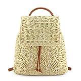 Faletony Mochila de paja para mujer, bolso de playa, bolso de paja con asa, bolso de playa, bolso de mano con cordón amarillo claro XL