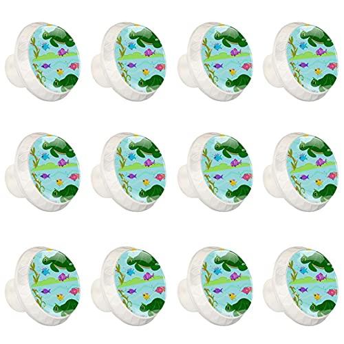 rodde Estilo magnífico gabinete de cerámica perillas Tire manijas para Muebles Armario cajón Armario Cocina baño,Turtle Fish Friends