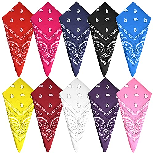 FEPITO 10 piezas Paisley Bandanas Pañuelos de vaquero surtidos Unisex Novedad Estampado de la cabeza Envoltura Bufanda Pulsera para adultos y niños (10 colores)
