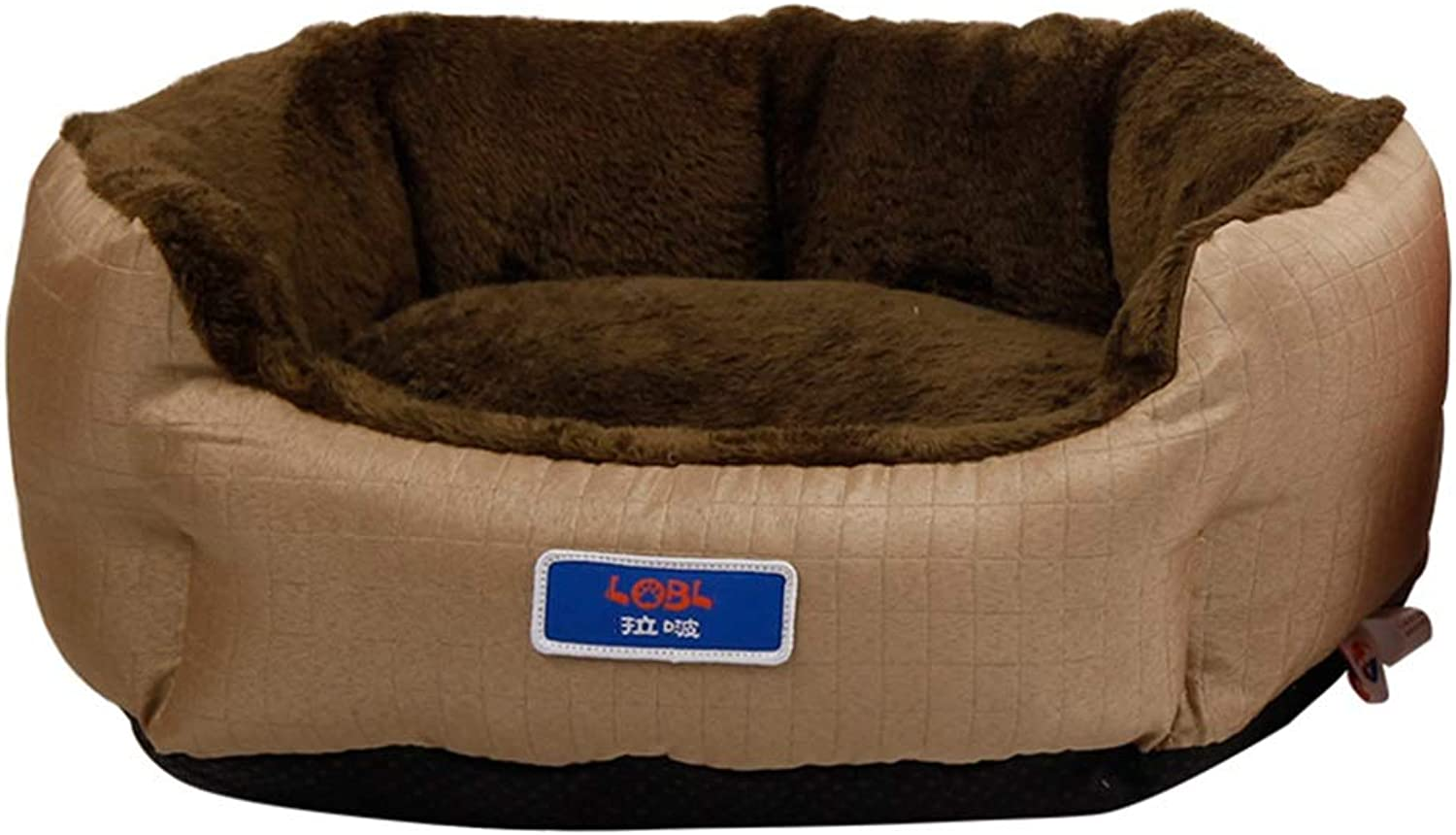 LXLA  Round Grooved Pet Bed for Cats & Small Medium Dogs  DoubleSided Use, Easy to Care  Khaki (Size   M 51×45×18cm)