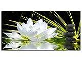 Hexoa Tableau Zen Fleur de Lotus et Galets 60x30 -Top Vente -Fabrication française -16020HX8C