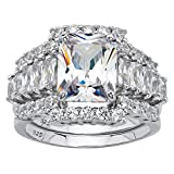 Platinum over Sterling Silver Emerald Cut Cubic Zirconia Bridal Ring Set Size 9