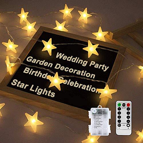 Led Lichterkette Sterne, Nasharia Lichterketten 8 Modi 30er Sterne LED Lichterkette mit USB Port Ladung und Batteriebetrieben Warmweiß Lichterketten für Zimmer, Innenbeleuchtung, Weihnachten (20LED)