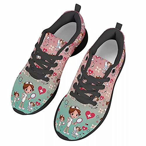 chaqlin Zapatillas deportivas para mujer, informales, deportivas, para gimnasio, caminar, tenis, zapatos de correr ligeros, color Rosa, talla 42.5 EU