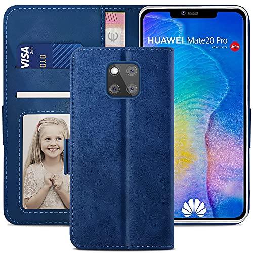YATWIN Handyhülle Huawei Mate 20 Pro Hülle, Klapphülle Huawei Mate 20 Pro Premium Leder Brieftasche Schutzhülle [Kartenfach][Magnet][Stand] Handytasche für Huawei Mate 20 Pro Hülle, Blau