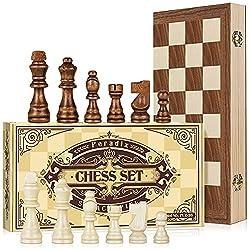 ✅Giganti set di scacchi: scacchiera pieghevole in legno da 38 * 38 cm, realizzata a mano con materiali di pino e noce della Nuova Zelanda di alta qualità, robusta e resistente. La pregevole fattura e la superficie liscia non graffieranno le dita. ✅Sc...