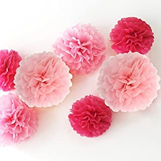 HAZOULEN 12 Piece Tissue Paper Flower Pom Poms for Decorations,10 Inch, 12 Inch, 14 Inch, (Pink) (Pink)