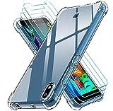 ivoler Funda para LG K20 2019 + 3 Unidades Cristal Vidrio Templado Protector de Pantalla, Ultra Fina Silicona Transparente TPU Carcasa Airbag Anti-Choque Anti-arañazos Caso