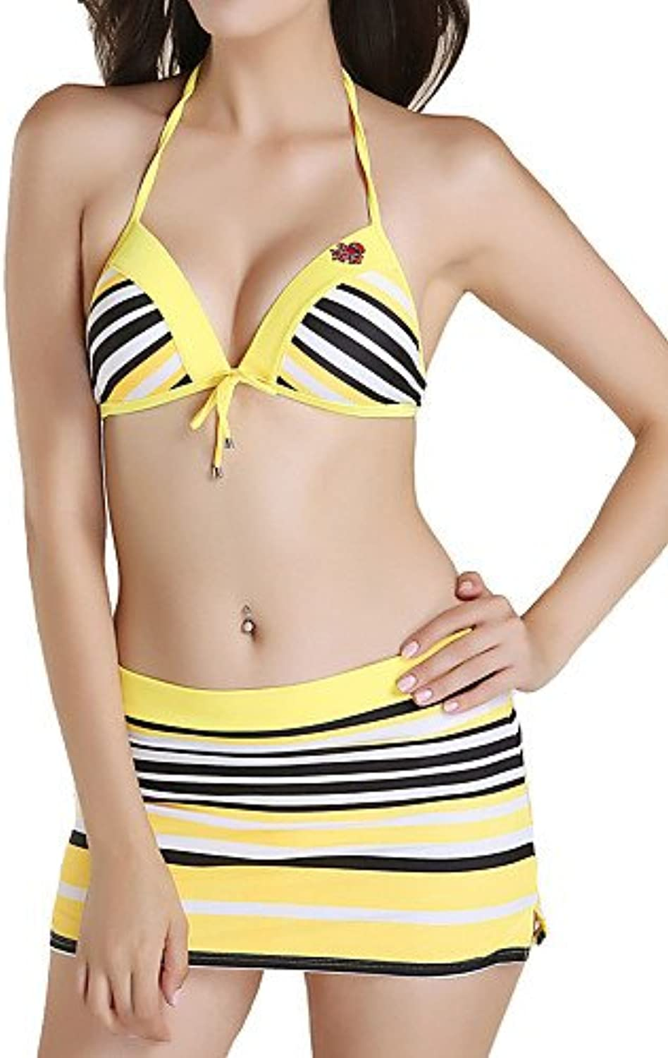 SNEEDWomen's Three Pieces Stripe Swimwear Dress Bikini