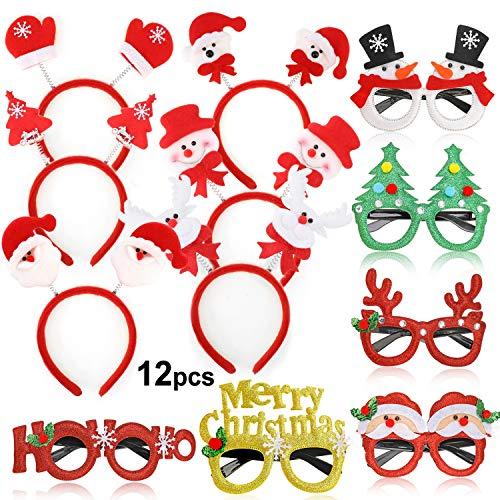 HOWAF 12 stücke Weihnachtsbrillen Lustig Weihnachtsbaum Brillenrahmen Brillengestell und Haarreifen Weihnachten Stirnband zum Weihnachten Party für Erwachsene und Kinder