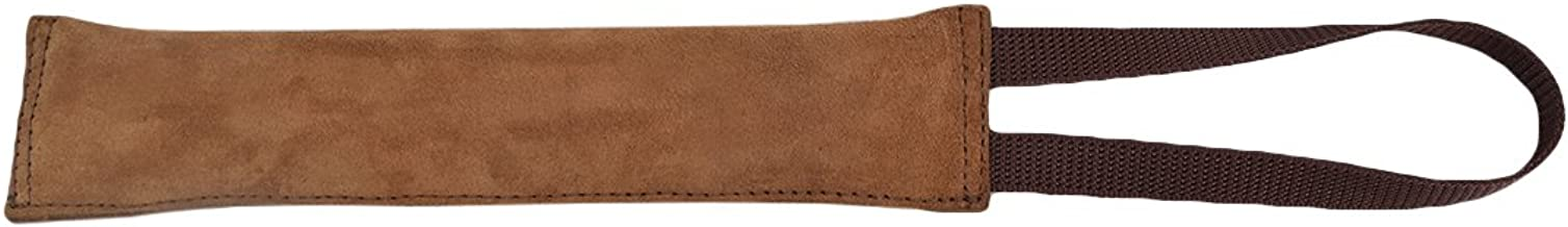 Hide & Drink Thick Leather Dog Tug Toy for Training/Play/Gift with Strap Handmade Bourbon Brown