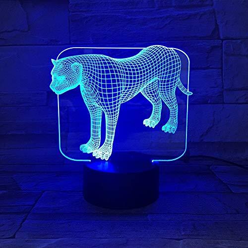 Lámpara de mesa 3D Acrílico Transparente LED Luz de Noche Animal Salvaje Leopardo Lámpara de Mesa Color Decoración Regalo