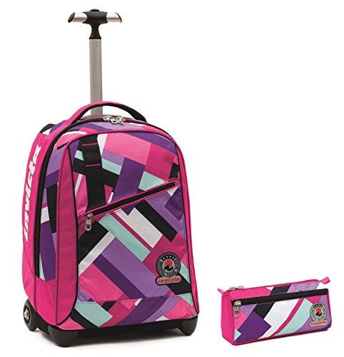 Invicta - Mochila con ruedas tipo carrito + estuche, color rosa, asa totalmente retraible. Mochila con capacidad de 35 L, perfecta para la escuela o para los viajes