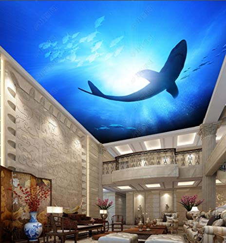 Fototapete 3D Decke Meereswelt Hai Wandbild Sofa Fernseher Schlafzimmer Wand Geeignet Für Wohnzimmer Korridor - 350x256CM-XXL