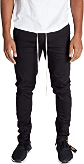 KDNK Men's Tapered Skinny Fit Stretch Twill Cotton Drawstring Ankle Zip Pants