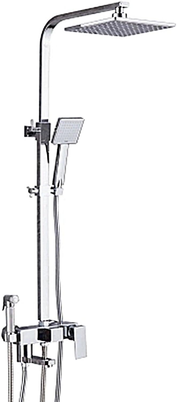 Duschset - Kupfer Dusche Set Haus Wand Montiert Intelligente Konstante Badezimmer Bad Dusche Düse Wandhalterung 8 Zoll Niederschlags Quadrat Duschkopf Mit Dusche Arm Dusche Schlauch Edelstahl