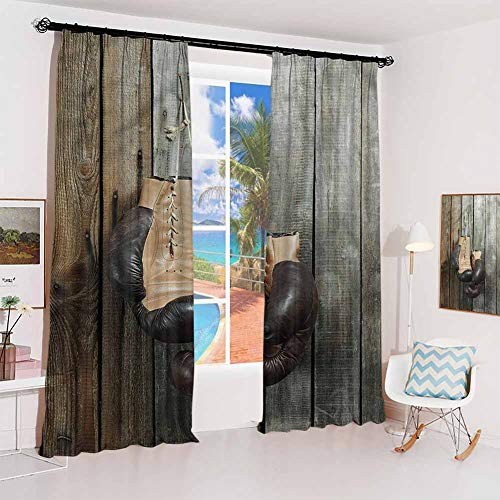 Vintage Noise-Proof Sunshade Curtain Vintage Boxing Gloves Waterproof Fabric W52 x L84 Inch