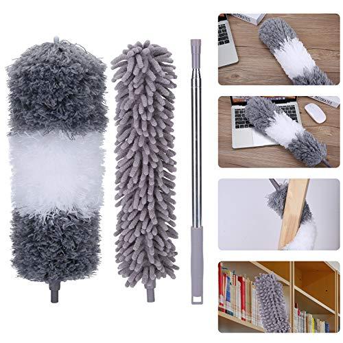 DECMAY Polvo de Polvo telescópico de Microfibra de Chenilla, con 2 Cabezas, Estiramiento 75-250 cm, Lavable, Mango de Acero Inoxidable, para el hogar, automóvil, Ventilador de Techo, telaraña