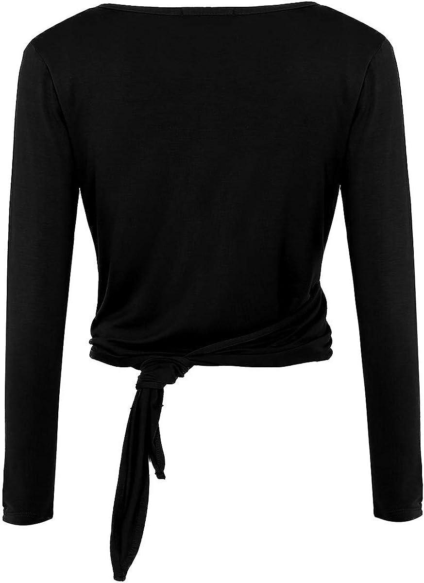 iEFiEL Womens Deep V Neck Wrap Tie Long Sleeved Ballerina Sweater Latin Dance Top Shrug Cardigan