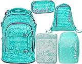 Satch Pack Aloha Mint 5er Set Schulrucksack, Sportbeutel, Schlamperbox, Heftebox & Regencape Mint
