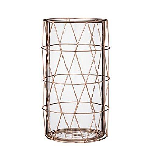 Glass votive w/copper, insert finish w20xL19xH27 cm