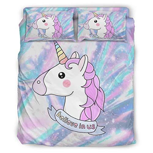 YOUYO Spark Juego de cama con diseño de unicornio, diseño de unicornio, color blanco, 228 x 264 cm