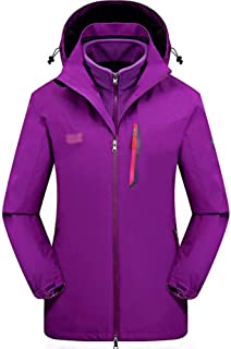 FYXKGLa Women's Outdoor Jacket Three-in-one catching Fleece Mountaineering Clothes ski Suit (Color : Purple, Size : XXXXL)