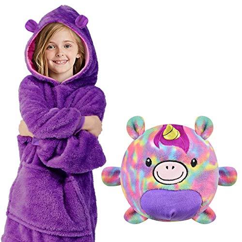 heekpek Hoodie Decke Kinder Sweatshirt Hoodie Decken mit Kapuze Warme 2 in 1 Nachtwäsche und Haustier Kissen Einziehbar Decke Hoodie Tier Pyjamas für Kinder Mädchen und Jungen