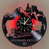 YHMJ Reloj de Pared Discos de Vinilo,Relojes de Pared Hechos a Mano con temática de Harry Potter,Reloj Luminoso de 7 Colores,Creativa Pascua para Amigos,con luz