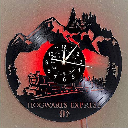 YHMJ Vinile Orologio da Parete Record,Orologi da Parete a Tema Record di Harry Potter Fatti a Mano,Orologio Luminoso a 7 Colori,Selezione Creativa di Regali di Halloween per Gli Amici,con Luce