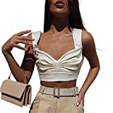 I3CKIZCE Camiseta de tirantes para mujer, de verano, cuello en V, de color liso, camiseta informal, sexy, chic, moda vintage blanco L