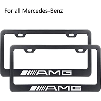 Almoo 3D Raised AMG Emblem Luxury Stainless Steel Metal License Plate Cover Holder Frame W//Screws for Mercedes Benz AMG Silver