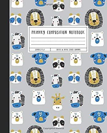 Primary Composition Notebook: Grades K-2 Write & Draw Story Journal, Cute Animal Faces, Blue