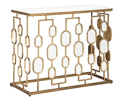 Signature Design by Ashley - Majaci Console Table - Contemporary - Antique Gold Metal - Mirrored Glasstop and Accents