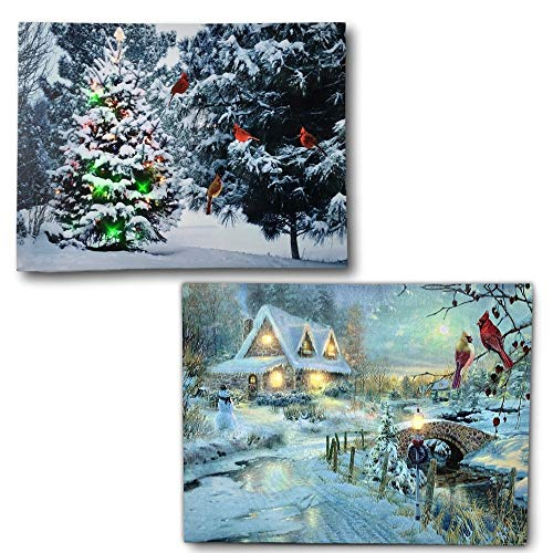 BANBERRY DESIGNS Winter Scene Canvas Print Set - 2 LED Wall Art Prints with Snow and Cardinals - Lighted Wall Art for Christmas