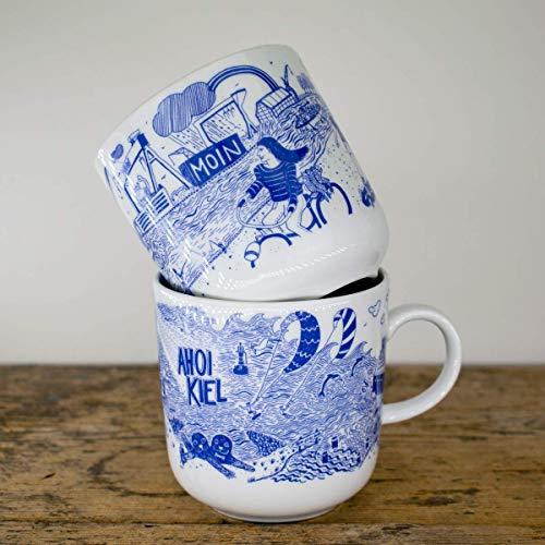 Kaffeebecher 2er-Set - Kiel Motiv Fördeliebe - Maritime Porzellan-Tasse original aus dem Norden