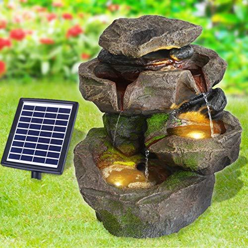 profi-pumpe.de Solar Gartenbrunnen Brunnen Solarbrunnen Zierbrunnen Stein-Kaskade SCHWARZWALD mit LED-Licht, Wasserfall Gartenleuchte Teichpumpe für Terrasse, Balkon, mit Pumpen, mit Liion-Akku