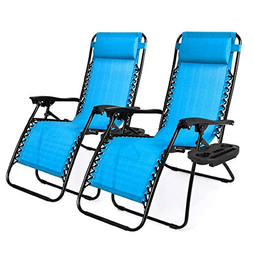 RICA-J Zero Gravity Chair, Adjustable Patio Lounge Recliners Folding Zero Gravity Patio Lounge Chair Sun Pool Lawn Chaise with Pillows and Cup Holder Trays for Pool Outdoor Yard Beach (2, Blue)