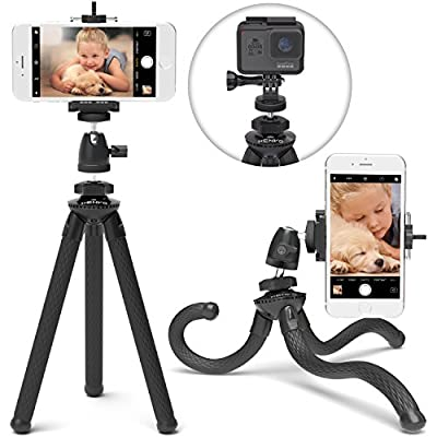 Xenvo SquidGrip Flexible Cell Phone Tripod and Portable Action Camera Holder - Compatible with iPhone, GoPro, Android, Samsung, Google Pixel and All Mobile Phones by Xenvo