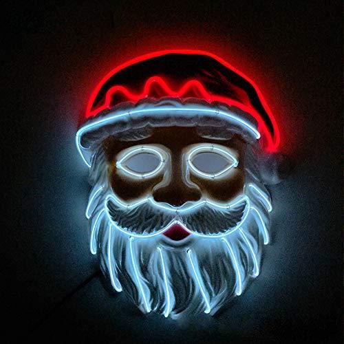 Queta Weihnachtsmann Maske Led Nikolausmaske Weihnachtsdeko Weihnachten Party Cosplay Kostüm Zubehör Beleuchtete Maske Batterie Angetrieben