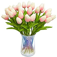 Eco-friendly and Healthy Material: They're made of high quality of material (90% PU+10% plastic) and steel wire inside the stem. Fake tulips look like real, safe for kids and pets. Quite easy to clean. Size: Total: 13.7 inches/35 cm. Flower head leng...