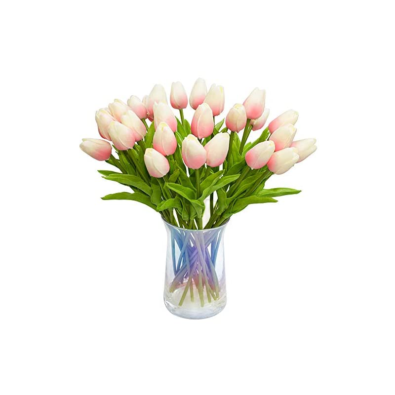silk flower arrangements joejisn 30pcs artificial tulips flowers real touch pink tulips fake holland pu tulip bouquet latex flowers for wedding party office home kitchen decoration (light pink)