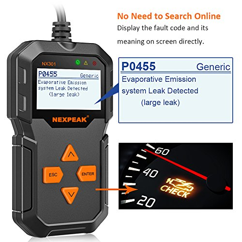 NEXPEAK OBD2 Reader NX301 Universal OBDII Car Diagnostic Scanner Tool for Car Engine OBD2/EOBD Diagnostic Scanner…