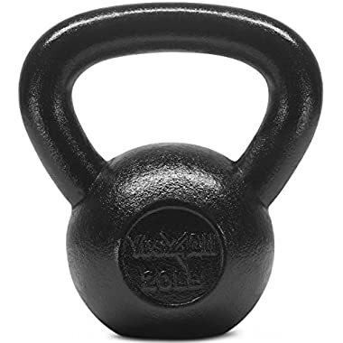 Yes4All Solid Cast Iron Kettlebell Weights Set – Great for Full Body Workout and Strength Training – Kettlebell 20 lbs (Black)