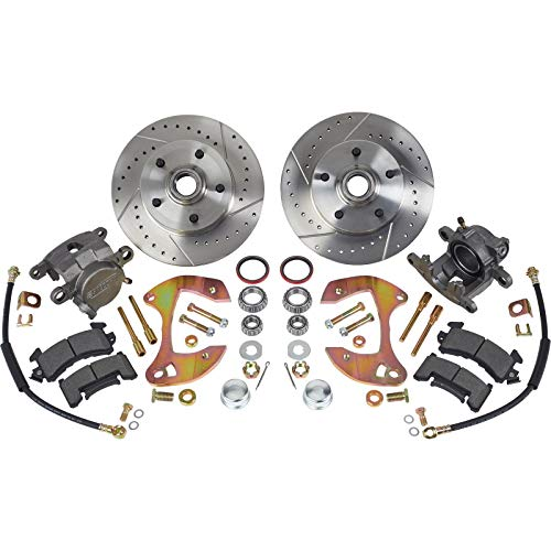 Deluxe Disc Brake Kit,1955-64 Fits Chevy Full-size Car,Drilled/Slotted