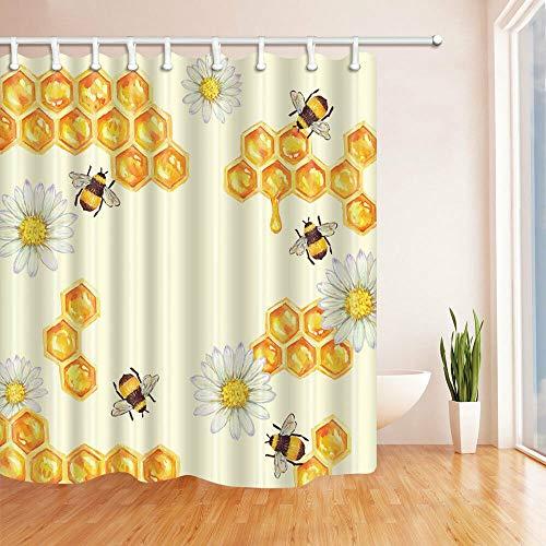 FANG2018 Badezimmer-Duschvorhang Biene nehmen Honig in Blumen haltbarer Stoff Schimmel Badezimmer Zubehör Kreativ mit 12 Haken 180 x 180 cm