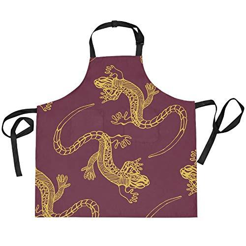 ADMustwin Delantales para mujeres y hombres, diseño de animales, Gecko Patttern, delantales ajustables de cocina con 2 bolsillos, 27.5 x 29 pulgadas