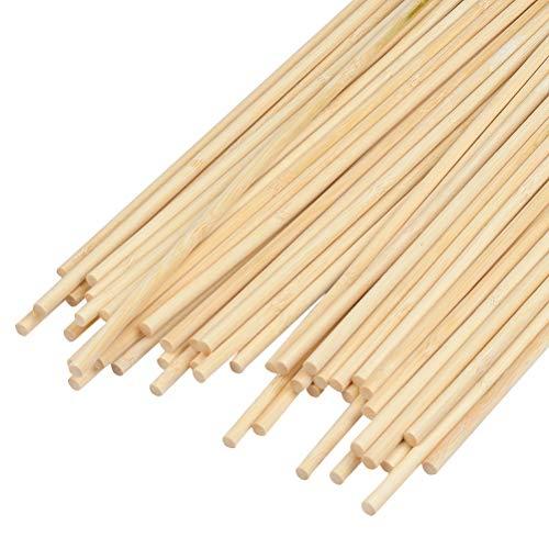 POKIENE 50 Stück Holzstäbchen zum Basteln   Lange Holzstab Rund Bambusstäbe   Bambusstäbe Holzstab für DIY Handwerk Modell Projekte 6mm x 30cm