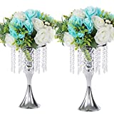 LANLONG - Portacandele in cristallo imitazione acrilico per vaso di fiori oro/argento, centrotavola per matrimonio e decorazione eventi (argento, 13)