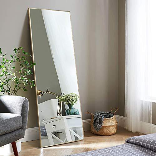 Elevens Specchio da pavimento con telaio in metallo nero HD, grande specchio con gancio per soggiorno o spogliatoio (oro, 110 x 40 cm)